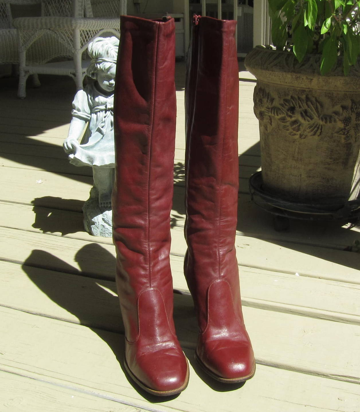 burgundy leather knee high boots by joyce of california