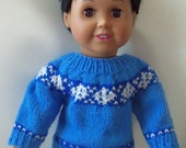 "Handknit Fair Isle Snowflakes Doll Sweater for 18"" Dolls"