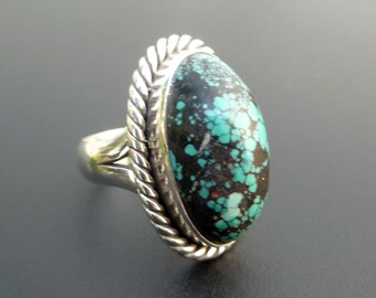Turquoise Statement Ring - Handmade Sterling Silver and Turquoise Statement Ring - Mottled Turquoise Statement Ring - 6.8