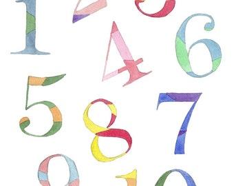 Numbers Watercolor Painting - 1 2 3 Kids Room Watercolor Art Print, Rainbow Numbers - 11x14 Wall Art