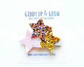 Felt Hair Clip - Glitter Hair Bow- Star Hair Clip, Giddy Up and Grow