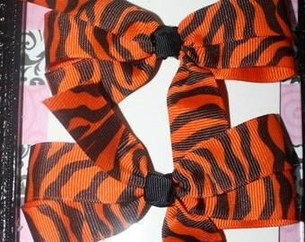 Orange and Black Tiger Hair Bow Set