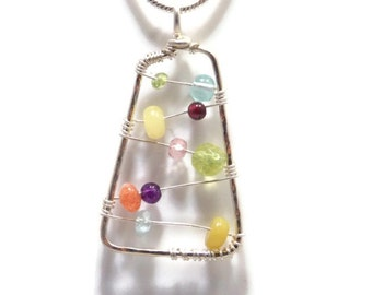 Gemstone Necklace Sterling Silver Jewelry Wire Wrapped Pendant Natural Gemstones