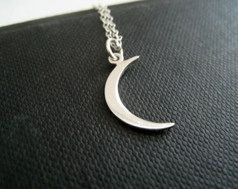 Dainty crescent moon necklace, moon charm necklace, sterling silver charm jewelry