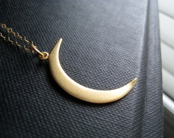 Gold Crescent moon necklace, large size Vermeil gold moon charm necklace