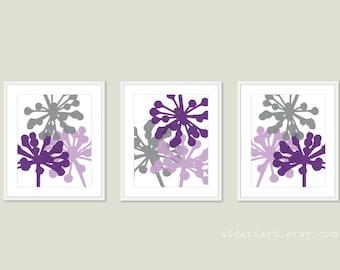 Dandelions Art Prints - Print Set - Purple Violet Grey - Unique Home Decor - Modern Botanical Nature Floral Wall Art - Vibrant Orchid