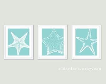 Starfish Prints - Starfish Wall Art - Nautical Wall Art - Nautical Decor - Custom Color Art - Aldari Art