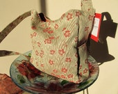 Sam:  50% Off Large Upholstery Fabric Tote For Laptop, Books, Diapers, Travel, Market,  Floral Apricot Rust