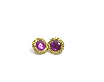 Vintage Purple and Gold Circle Earrings