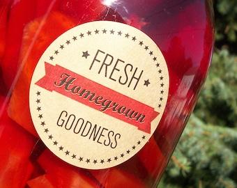 Fresh Homegrown Goodness KRAFT paper canning jar labels, round mason jar labels, fruit and vegetable preservation stickers