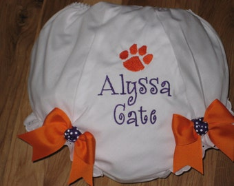 Personalized Clemson Diaper Cover