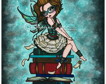 Library Fairy Bookworm 8x10 Art Print Hannah Lynn