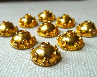 24k Gold Vermeil Ornate Bead Caps  - 12x6mm - Beautiful Decorative Bead Enhancers - Qty 2 pcs (one pair)