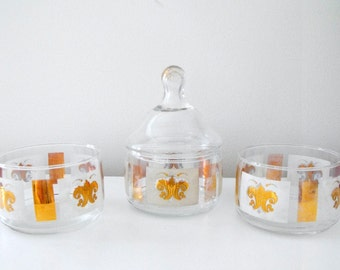 Vintage 4 Piece Stacked Glass Canister, Fleur de Lis Pattern On Covered Nut and Candy Dish - French Country - Anchor Hocking Stackables