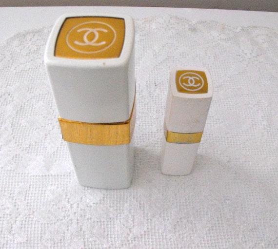 Set Of 2 Chanel No 22 Spray Cologne White Enamel And Gold