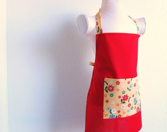 Childrens Apron - SUMMER SAL -Solid Red with a Yellowish Gold Print and Colorful Summmer Flowers Kids Apron-a sweet chef cooking apron