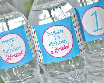 Water Bottle Labels - Birthday Party Decorations - Bottle Wraps - Rainbow Birthday Party - 1st Birthday - Colorful Polkadots - Set of 10
