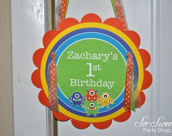 Monsters Birthday Party Door Sign - Monsters Aliens - Personalized - Boys 1st Birthday Decorations