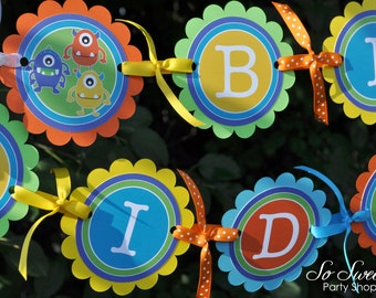 Monster Birthday Banner - Monsters Aliens - Personalized - Boys 1st Birthday Decorations