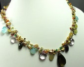 Keishe Pearls, Semi Precious Gems and 14k Gold Filled Necklace