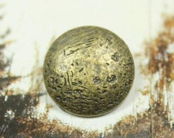 Metal Buttons - Lunar Surface Metal Buttons , Antique Brass Color , Domed , Shank , 0.79 inch , 10 pcs