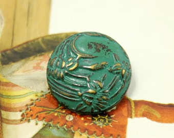 Metal Buttons - Begonia flowers Metal Buttons , Copper Green Color , Shank , 0.91 inch , 6 pcs