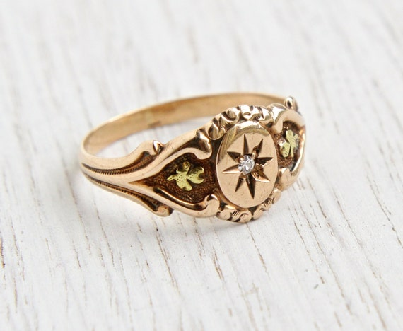 antique 10k rose gold edwardian ring size 7 diamond signed