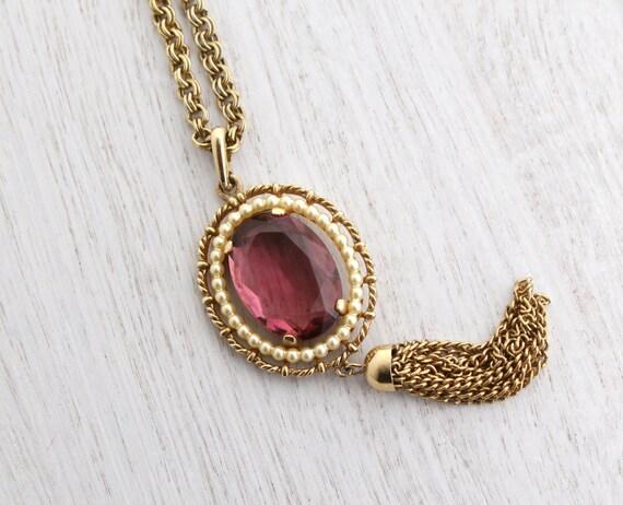 Vintage Purple Stone Amp Faux Pearl Necklace Gold Tone Tassel
