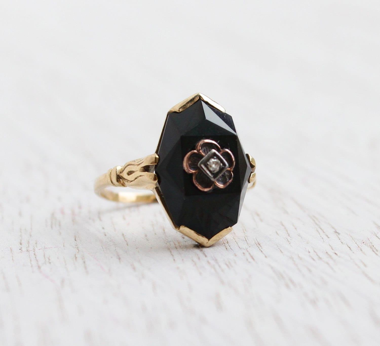 Antique 14k Yellow Gold Onyx Amp Diamond Ring Size 4 Edwardian