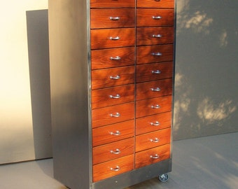 Vintage Industrial Metal & Wood Cabinet with 20 Drawers / Storage Organization / Repurposed Handmade / Custom / Red Orange Silver
