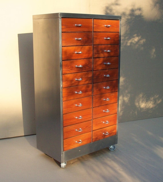 industrial metal cabinet vintage industrial metal amp wood cabinet with 20 drawers 17835