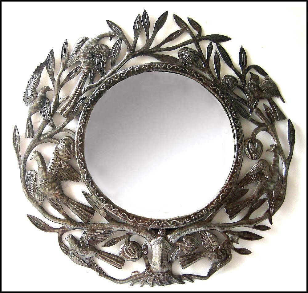 Mirror metal art wall hanging metal wall art wall mirrors for Mirror wall art