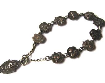 Vintage Antique 30s Rosary Saints Silver Medal Rose Link Bracelet