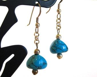 Vintage 70s Navajo Indian Sterling Silver & Blue Turquoise Pierced Ear Dangle Drop Earrings