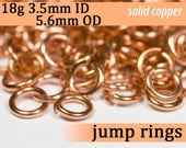 18g 3.5mm ID 5.6mm OD solid copper jump rings -- 18g3.50 open jumprings findings jewelry supplies links