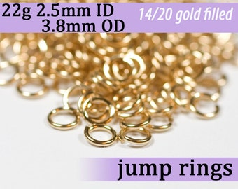 22g 2.5mm ID 3.8mm OD gold filled jump rings -- 22g2.50 goldfill jumprings 14k goldfilled jewelry supplies findings