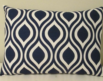 LAST ONE   12 x 16  Lumbar PillowTextured  Navy Abstract Fabric Both Sides