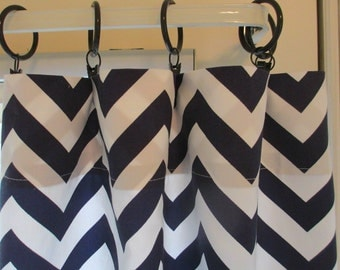 Two Curtain Panels Navy zigzag Your Choice