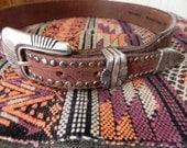 "1970s Studded Belt , Boho  ""Billy of California"" Western Brown Leather Belt ,  Size 30"""