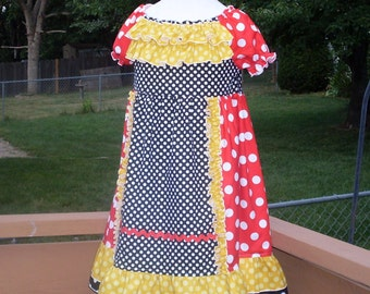 Ruffled Minnie Mouse Peasant Dress, Size 3-4, 5, 6, 7-8, and 10-12.