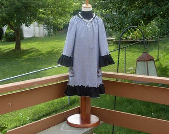 Black Hounds-tooth Peasant Dress, Size 3-4, 5-6, 7-8, and 9-10.