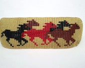 Wild Running Horses, Black, Red, Brown on Gold, Horse-Lovers Beaded Bracelet Cuff