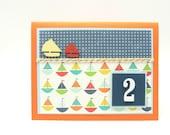 Boy's Sailboat Second Birthday Card, Little Boy's 2nd Birthday Card, Handmade Paper Greeting Card, Blue and Orange Boy's Card, Baby Card