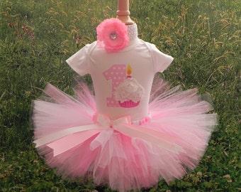Pink Cupcake Tutu Set, First Birthday Cupcake Tutu, First Birthday Outfit