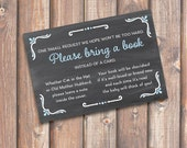 Chalkboard Blue and Gray Printable Stock the Library Enclosures Bring a Book Cards - INSTANT DOWNLOAD