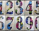"Address Number - 1 House Number - Metal Numbers,  4 1/2"" Black Hand Painted Metal Art - Recycled Steel Drum - Address Numbers - AD-100-4-BK"