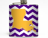 Custom State Whiskey Flask Your Home State and Custom Color Chevron Stripes Wedding Gift Stainless Steel 6 oz Liquor Hip Flask LC-1047
