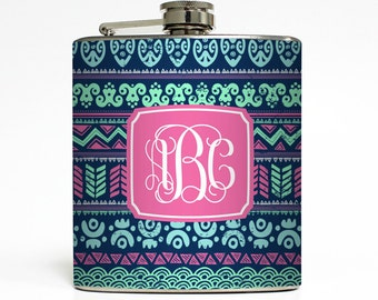 Custom Flask Personalized Tribal Aztec Monogram Initials Custom 21st Birthday Women Gifts Stainless Steel 6 oz Liquor Hip Flask LC-1421