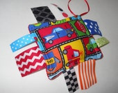 Ribbon Tag  Sensory Toy  Puffers for Baby Boy - Road signs and cars n trucks - Baby Shower Gift - soft stuffed plush