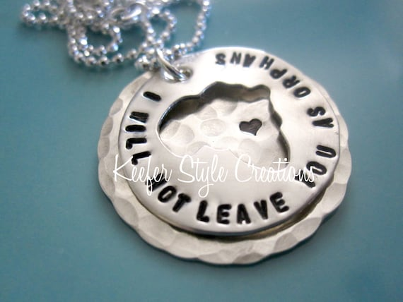 Africa cut out hand stamped adoption/missions I will not leave you as orphans on hammered disk with Ethiopia heart necklace